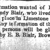 E. B. Blair searching for Ephraim and Sandy Blair