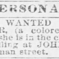 Unnamed man searching for his wife Mrs. Mary Jane Bowser