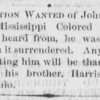 Harrison Eaton searching for his brother John Eaton