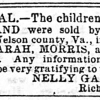 Nelly Garland searching for her children Sarah, Morris, and Louisa Garland