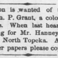 Information wanted of the whereabouts of Wm. P. Grant